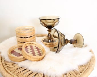 Vintage Rattan Coaster Beige and Red Woven Bohemian Boho Jungalow Woven Rattan