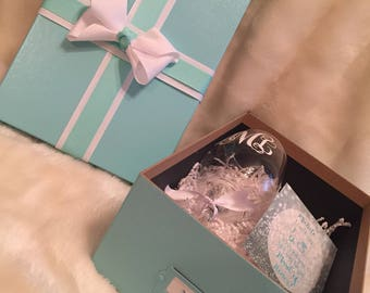 Will You Be My Bridesmaid/I Can't Say I Do Without You/ Will You Be My Maid of Honor Proposal Box Set--Completely customizable (Blue/Green)