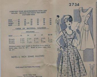 1950s Fashion Service Women's Pinafore Apron Dress Sewing Pattern UNCUT