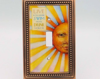 Sunshine Light Switch Cover, Coastal Light Switch, Inspirational Quote Light Switch Cover, Sun Face Art Light Switch, Beach House Decor