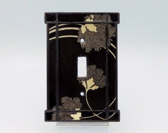 Switchplate Art: Art Nouveau Stylized Floral Light Switch Cover in Black and Tan, Craftsman Style Light Switch Plate, Cast Iron Switchplate