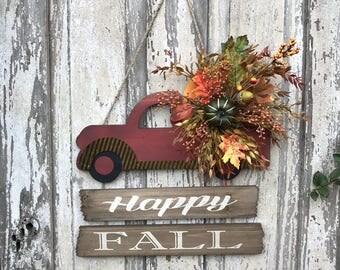 Truck Door Hanger, Red Truck Wreath, Fall Swag, Fall wreath for front door, Fall outdoor wreath, Fall porch decoration, Fall door hanger