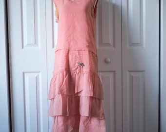 Vintage 20s Flapper Dress || Pink Dress || Vintage Downton Abbey