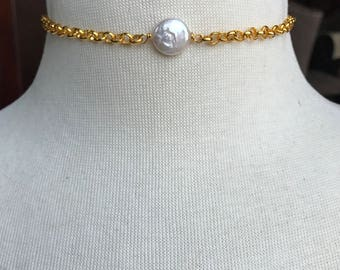 White Freshwater Coin Pearl Choker on Gold Plated Chain