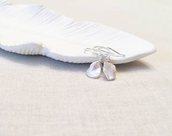 Keshi Pearl Drop Earrings - 925 Sterling Silver Wire Wrapped Keshi Cultured White Luminous Genuine Pearl Drops Organic OOAK Gift for Her