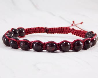 Gift/for/him red garnet bracelet men natural red garnet jewelry gemstone bracelet bracelet January birthstone bracelet Macrame bracelet him
