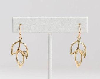 Bohemian Earrings - Wedding Earrings - Bridesmaid Earrings - Gold Leaf Earring - Gold Leaf Dangle Earring - Elegant Earrings