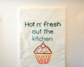 R Kelly Tea Towel - Remix to Ignition - Hot N' Fresh out the Kitchen - Cupcake - Hand Embroidered