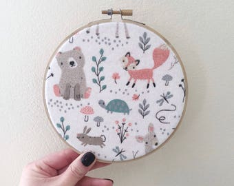 Embroidery Hoop Art/Woodland Wall Art/Nursery Decor/Baby Shower Gift/Baby Room Art/Woodland Animals/Nursery Wall Art/Forest Animals/Woodland