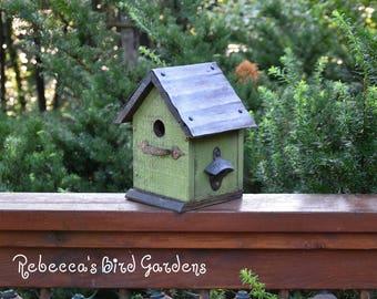 "Green Rustic Birdhouse ~ ""The Cabin"" - Unique Birdhouse - Wooden Birdhouse - Outdoor Birdhouse - Bird House - Shabby Chic Birdhouse"