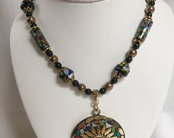 Multicolor gold and Black Medallion Necklace