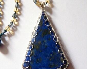 Collier Sautoir et Pendentif pierre de gemme Lapis Lazuli made in France