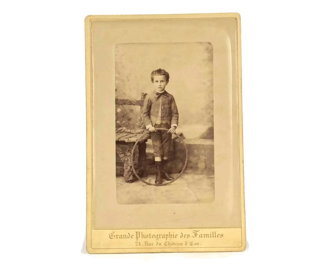 Victorian Child Portrait Picture of Boy with Running Hoop.