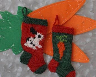 Black and White Bunny & Carrot Hand-Knit Christmas Stocking Ornaments  Checkered Rabbit  Rhinelander  English Spot