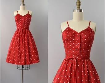1970's red polka dot cotton sun dress •  xs
