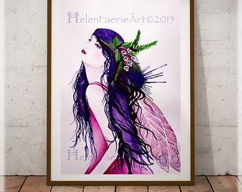 Fairy Print, Purple Print, Ready to Frame Print, Fantasy Art Print, Fairy Gifts, Foxglove Art, Fairy Art Print, Fairy Illustration, Prints