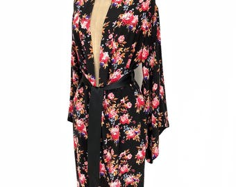 Silk Kimono robe, black silk kimono robe, kimono robe, floral silk kimono, bridesmaid robe, floral robe, black silk kimono, long kimono