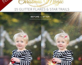 NEW 25 Christmas Magic Glitter Light Flares with Gold star trails, Overlays for Photography Sessions, Magic Light Behind Present or Book