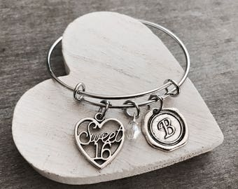 SALE, Sweet 16, Silver Jewelry, Charm Bracelet, Sweet 16 Gift, Sweet 16 Bracelet, Sweet 16 Jewelry, Gifts for, STAINLESS STEEL, Bangle