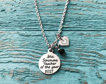 Teacher of the year, Silver Necklace, Charm Necklace, Gift, Teacher, Teaching assistant, Personalized, End of year, Teacher Appreciation
