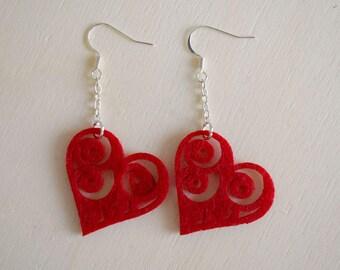 Red Felt Earrings - Felt Heart Earrings - Fabric Jewelry - Dangle Heart Earrings - Romantic Jewelry - Valentine's Day Gift
