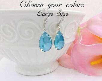 FREE US Ship Azure Blue Swarovski Teardrop Bridal Earrings In Silver Swarovski Azure Blue Bridal Earrings Blue Crystal Earrings