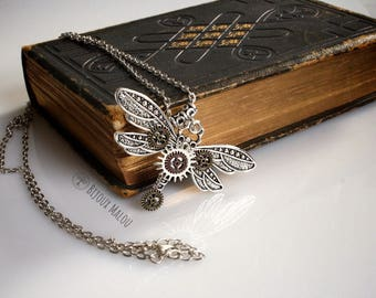 Steampunk Dragonfly Necklace Insect Gears Silver Dragonfly Necklace Large Gears Necklace Cogs Wing Necklace Steampunk Gift Jewellery