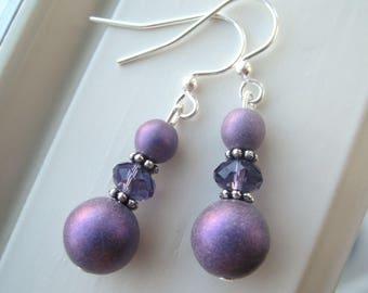 Purple Bridesmaid Earrings - Shimmer Jewelry - Czech Glass Earrings - Satin Druk Earrings - Purple Dangle Earrings
