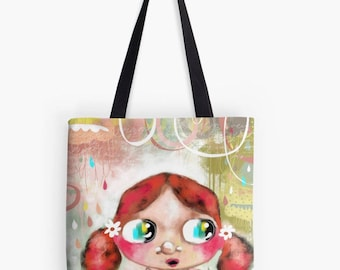 Birthday Gift - Student Gift - Teacher Gift - Whimsical Art Tote - I Have You In My Heart - HyssopArts - Artwork Designed by Beatrice Ajayi
