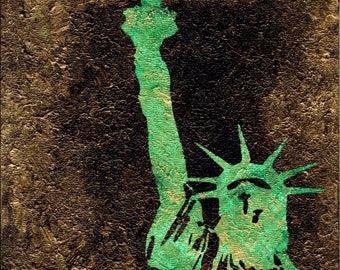 Print Statue of Liberty / Green / Ellis Island / 8 x 8 PRINT / Statues / NYC
