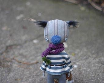 Art textile animal cat doll - Bear doll - Fox doll - Animal toy - Woodland doll - Strange doll - Soft toy - Handmade teddy bear stuffed toy.