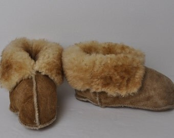Child's Children Homemade Sheepskin Suede Moccasin Sleepers Boots Brown