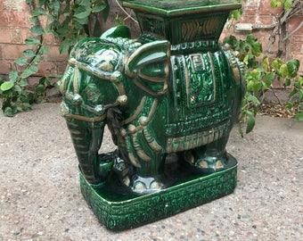 Large Vintage Green Verdigris Oriental Chinese Asian Ceramic Elephant Garden Stool Sculpture