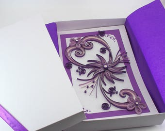 """Mothers Day Card. Mom Birthday Card. Handmade Paper Quilling Card. Valentines Day Card. Purple Quilled Flower Card. 5x8"""" greeting card boxed"""