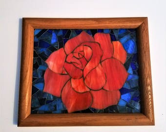 Unique Stained Glass Rose Mosaic Picture, Everlasting Flower, Mosaic Window Art, Summertime Art, Creative Gift Idea, Framed Glass Picture