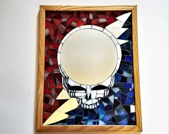 Grateful Dead Art Stealie Mosaic Mirror, Framed Mosaic Picture, Hippie Wall Art, One of a Kind Mosaic, Deadhead Art, Unique Stained Glass