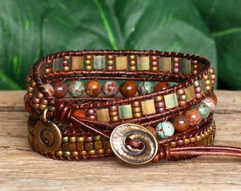 Gemstone Seed Bead and Tila Beaded Leather Bracelet, Bohemian Triple Wrap, African Opal Agate and Olive Rose Tila Bead Wrap, Artisan Jewelry