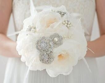 Custom Champagne Fabric Flower Bouquet, Silver Pearl Brooch Bouquet, Gatsby Wedding, Bridemaids Bouquet, Artificial Flower Bouquet - 7 inch