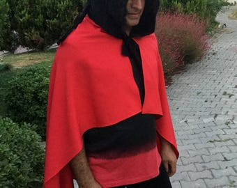 Black - Red Hooded Cape, Hooded Cloak, Halloween Devil Costume, Medieval Red Cloak, Fairy hood, Cloak with Hood, Cloaks and Capes