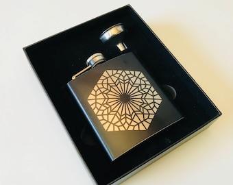Geomental - Black Stainless Steel Flask - Design by DECAH - Sacred Geometry