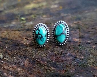 Hubei Turquoise Stud Earrings, Turquoise Earrings, Turquoise Studs, Turquoise Jewelry, Stud Earrings, Turquoise Gemstone, Hubei Turquoise