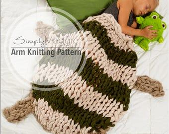 Arm Knitting Pattern // Arm Knit Turtle Sleep Sack // Animal Blanket // Child Size Blanket // Simply Maggie