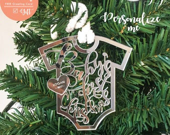 BABYS FIRST CHRISTMAS ornament Personalized Mirror Ornament Keepsake Ornament Gift for her christmas ornament women stocking stuffer