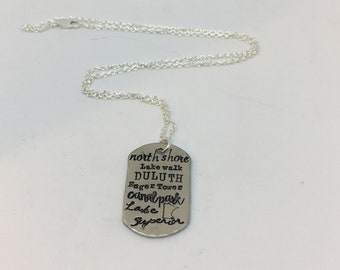 Custom Hand Stamped Necklace, Duluth, North Shore, Lakewalk, Canal Park, Enger Tower,Lake Superior, Minnesota. Makes a Unique Gift!