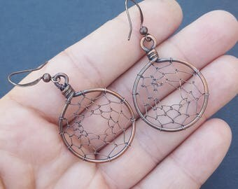 Dream Catcher Earrings, Native America Dreamcatcher, Wire Wrapped Jewelry, Boho Dream Catcher, Boho Dreamcatcher, Pair of Women's Earrings
