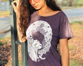 Floral Psychedelic Lion Vintage Purple Off the Shoulder Wide Neck Tee - Women's Festival - Unique Yoga Shirt