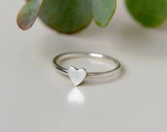 Heart ring, sterling silver small heart ring