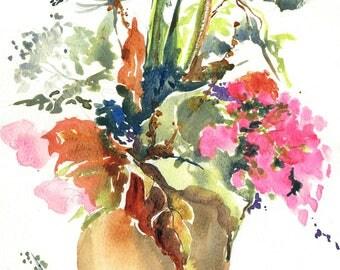 Jug of Flowers MOUNTED Giclee Print