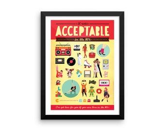 FRAMED Acceptable in the 80s (Calvin Harris) Typography Lyrics Poster, Pop Art, Dance Electronic Song Illustration, Eighties Fun Music Art P