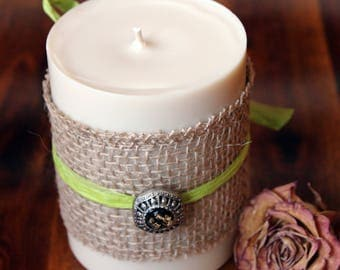 Vanilla Sandalwood pillar candle, 14 ounce candle, imperfect, winter candle, sandalwood candle, cream candle, 3 inch candle